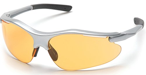 (Pyramex Fortress Safety Eyewear, Mango Lens With Silver Frame)