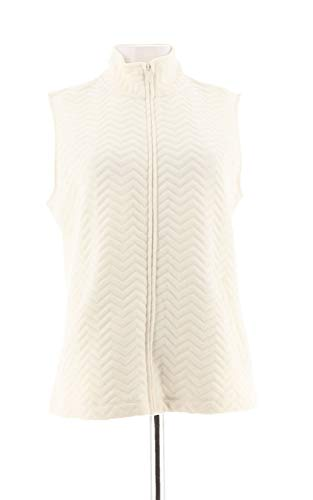 - Liz Claiborne NY Chevron Quilted Zip Front Vest Cream M New A272921