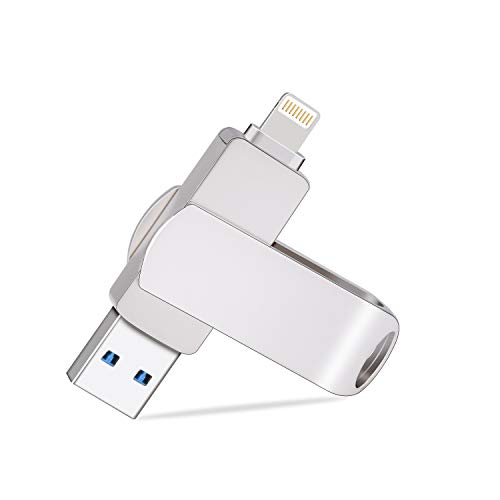iPhone Flash Drive 32GB, TOPESEL 32GB Dual 2-in-1 iOS USB 3.0 Lightning External Storage Memory Stick Thumb Drive iSO Flash Drive for iPhone, iPad, iPod, Mac and PC, Silver