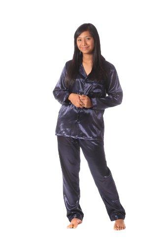 Brushed Back Satin Pajamas - Soft Dreams Womens Brushed Back Satin Pajamas S(Medium on tag), Midnight