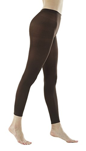 Women's 80Denier Semi Opaque Solid Color Footless Pantyhose Tights 2pair or 6pair (S/M, Brown) ()