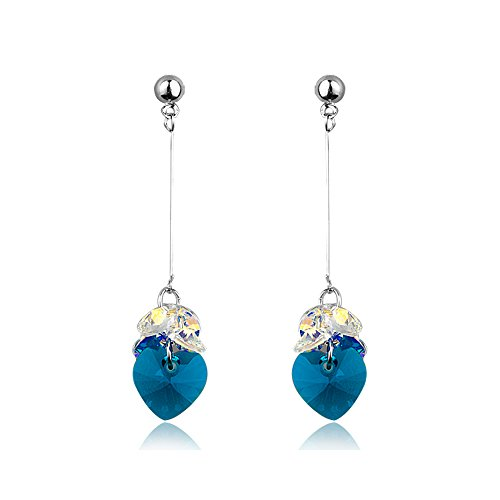 Heart Earrings Drops - Teal and Silver Danglers - Mall of Style (Dancing ()