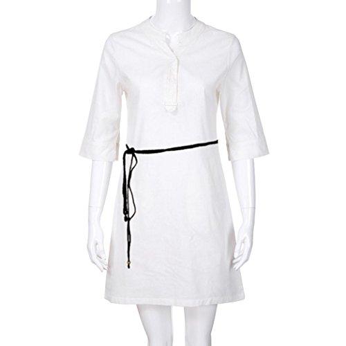 Mare Donne Bianco Buttons Manica Shirt Maxi Abito Pocket Casual Slim Lino Con Neck Mezze Corti Plateau V Senza e Maniche Lunghi Dress SOMESUN Cotone Magliette Dresses SCdfwd
