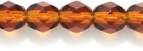 (Preciosa Czech Fire 6 mm Faceted Round Polished Glass Bead, Transparent Dark Topaz, 150-Pack)