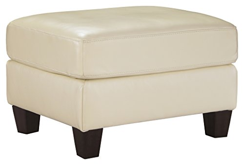 Ashley Furniture Signature Design - O'Kean Upholstered Leather Ottoman - Contemporary - Galaxy White