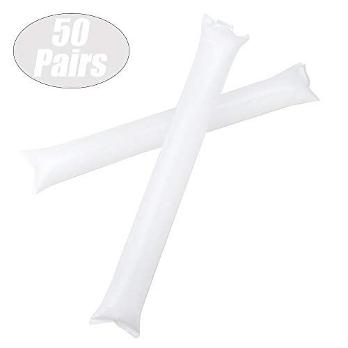 GOGO Bam Bam Thunder Sticks Cheerleading Outfit Inflatable Noisemakers Blow Bar Party Favors White 50 Pairs