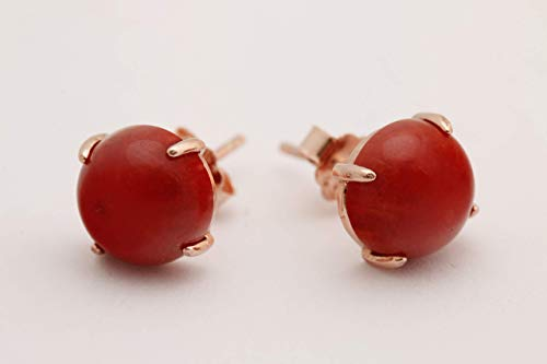 Special Design Turkish Handmade Jewelry Round Shape Natural Red Coral 925 Sterling Silver Rose Gold Stud Earrings