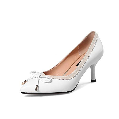 Ruched Shoes Womens APL11033 BalaMasa Solid Bows Pumps White Urethane CS7tq
