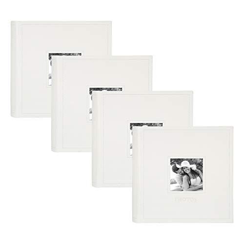 DesignOvation Debossed Faux Leather Photo Album, Holds 100 5x7 or 200 4x6 Photos, Set of 4, Ivory