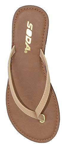 SODA Shoes Women Flip Flops Basic Plain Sandals Strap Casual Beach Thongs FELER Nude Beige 8 -