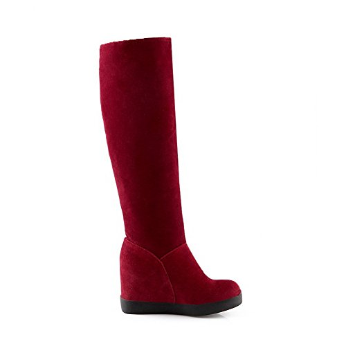 Frosted Pull Red Solid top Heels Boots AmoonyFashion High Womens High on txq0H7
