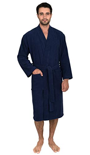 (TowelSelections Men's Robe, Turkish Cotton Terry Kimono Bathrobe Large/X-Large Patriot Blue)