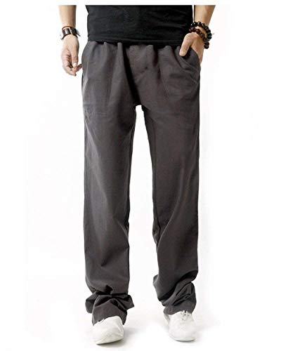 Lino Casuales Del Los Primavera Battercake Negro Bolsillos Sólido Verano Pantalones Cómoda Suelta De Larga Algodón La Cómodo Hombres Laterales Luz F41qEw