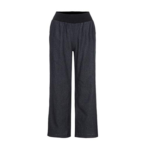 Pierna Stretch Cintura Pantalones Schwarz Notdark Mujer Vaqueros Elástica Palazzo Denim De Casuales Ancha Huixin Alta q1wSHT