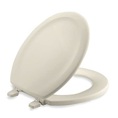 KOHLER Stonewood Molded-Wood with Color-Matched Plastic Hinges Toilet Seat