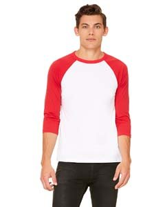 Bella 3200 Unisex 3 By 4 Sleeve Baseball Tee - White & Red, Small