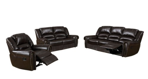 Furniture of America Tolgreer 3-Piece Bonded Leather Match Recliners Set, Dark Brown Finish