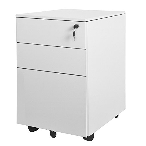 AIMEZO Heavy Duty Metal Solid Steel 3 Drawer Pedestal Mobile File Cabinet  W/ Lock