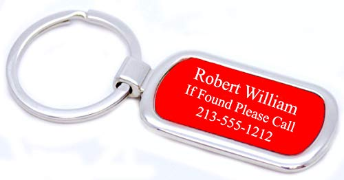 GIFTS INFINITY Personalized Car Or House Keychain - Free Laser Engraving (Oval, Red) ()
