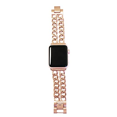 FUNKtional Wearables Double Row Chain Link Apple Watch Compatible Replacement Band - Stainless Steel Strap for All Apple Watch Series and Face Sizes - Wrist Sizes to XL (Series 4 Gold, S/M, 42/44mm)