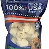 Pet Factory 78114 Beefhide Dog Bones 4-5'' 8 Pack, 99% Digestible Rawhide Treats, 100% Natural Rawhide Knotted Bones, Natural Flavor, Resealable Package, Made in USA
