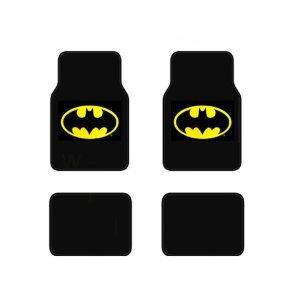 BDK WBMT-1301 Batman Carpet Car Floor Mats Black & Yellow Logo - 4 Pieces, Rubber Backing, Front & Rear Full Set