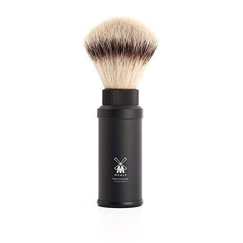 Muhle - Brocha de afeitar de viaje, fibra sintética, punta de plata, mango negro