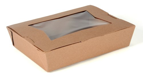 "Southern Champion Tray 07320 #2 ChampPak Classic Take-Out Container with Window with Poly Coated Inside, 7-3/4"" Length x 5-1/2"" Width x 1-7/8"" Height, Kraft (Pack of 200)"