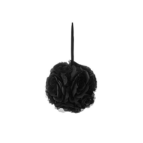 (Mega Crafts Black Artificial Rose Pomander Kissing Ball 6'' | Hanging Ribbon Fabric Flower Décor | Wedding Receptions, Party Decorations, Backdrop Wall, Event Planning, Birthdays & Baby)