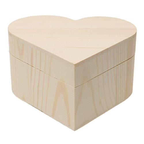 Xeminor Wooden Storage Case Durable Wooden Trinket Box Heart Trinket Box Plain Wooden Case Wooden Crafts Case for Trinket Jewellery Gift 1 Pcs by Xeminor (Image #5)