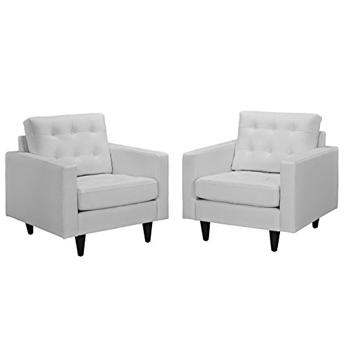 Modway EEI-1282-WHI Empress Mid-Century Modern Upholstered Leather Two Armchair Set ()
