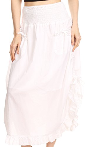 Sakkas 3118 - Coco Long Cotton Ruffle Skirt with Pockets and Elastic Waistband - White - OS