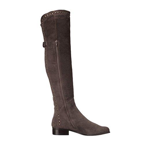 Bottes d 'automne et d' hiver des femmes européennes et américaines Rivets combat ceintures de cuir boucle avec bottes de genou en suède