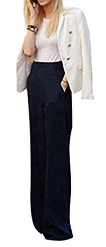 Lounayy Pantalone Donna Larghi Eleganti High Pantaloni Lunga Palazzo Pantaloni Autunno Baggychic Waist Monocromo Culotte Trousers Nero