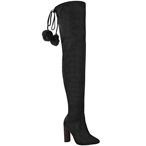 Fashion Thirsty Womens Ladies Thigh High Stretch Lycra Boots Over The Knee Celeb High Heels Size Black Faux Suede