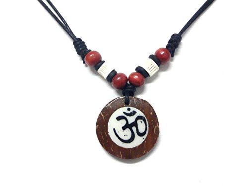 Ohm Om Coconut Wood Pendant Necklace Handmade Hawaiian Style Beach Boy Men Yoga Meditation Adjustable