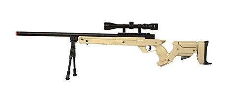 Well SR22 Airsoft Sniper Rifle Airsoft Gun (TAN / Scope & Bipod Package)