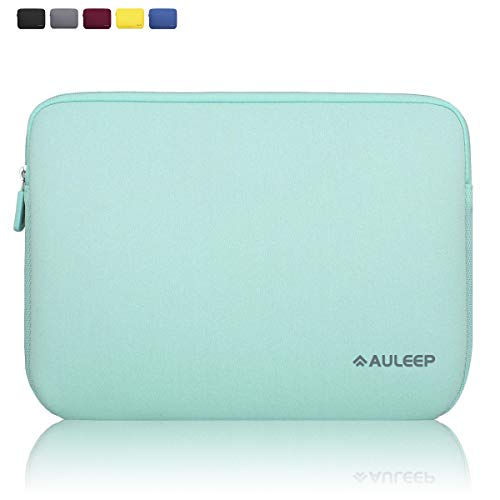 AULEEP 13-14 Inch Laptop Sleeves, Neoprene Notebook Computer Pocket Tablet Carrying Sleeve/Water-Resistant Compatible Laptop Sleeve for Acer/Asus/Dell/Lenovo/HP, Light Green