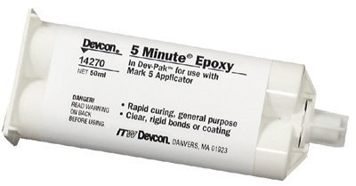 Devcon 5 Minute Amber Two-Part Epoxy Adhesive - Amber, Base & Accelerator (B/A) - 50 ml Cartridge - Shore Hardness 85 Shore D, Shear Strength 1900 psi [PRICE is per CARTRIDGE] by Devcon