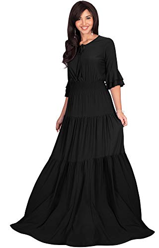 (KOH KOH Plus Size Womens Long Boho Bohemian Casual Vintage Solid Casual A-line 3/4 Sleeve Peasant Maternity Flowy Empire Waist Loose Floor Length Cute Maxi Dress Gown, Black 2XL)