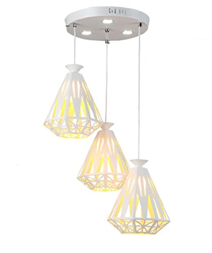 GL&G Modern simple restaurant chandeliers Pendent Light for Cafe Iron Chandelier Home Decoration Lamps, LED Bulb Included, Warm White Light,3 head,2024cm by GAOLIGUO