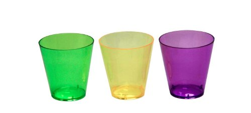 Party Essentials Hard Plastic Shot Glasses, 2-Ounce, Mardi Gras Mix, Box of (Mardi Gras Party Shot Glass)