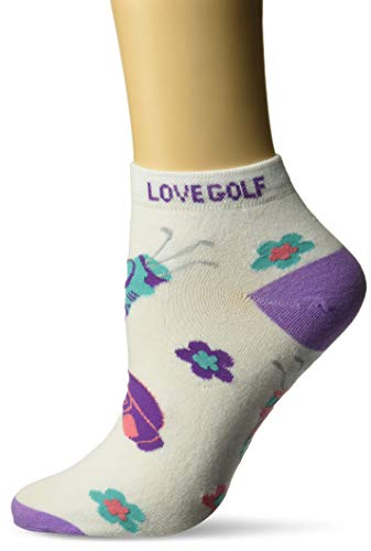 K. Bell Women's Gone Golfing Novelty Low Cut Sport Socks, I Love (Purple), Shoe Size: 4-10 (Ladies Golf Socks)