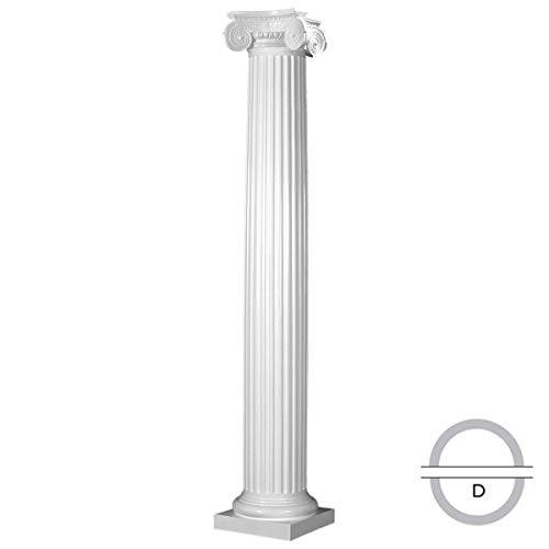 Endura-Stone ESK1210DTFSATUGA Round Fluted Tapered (FRP), Greek Angular Ionic Capital and Tuscan Base Column 12