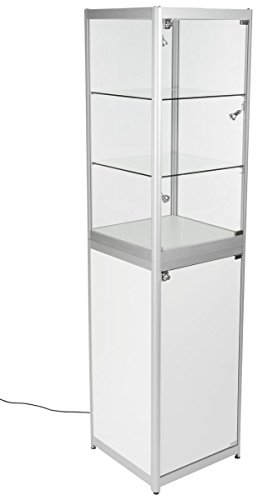 Displays2go Glass Display Tower with Wheels, Tempered Glass, Melamine – White (2TCSLVSS) by Displays2go