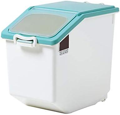 米びつ 保存容器 カップホイールハンドルを測定して穀物貯蔵容器15 KG防湿気密ライスコンテナケース防虫穀物オーガナイザーボックス 米粉シリアルキッチン収納用 (Color : Pink, Size : Free)