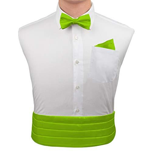 Epoint CM1001 Lime Green Silk Cumberbunds Find Goods for Mens Bow Tie Hanky Set with Gift - Cummerbund Green Set Silk