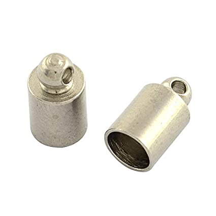 UNICRAFTABLE 200pcs 304 Stainless Steel Cord Ends Column Crimp Fasteners Leather Cord Ends Caps Necklace Ends for 2mm Diameter Cord DIY Jewelry Craft Making 7x2.6mm