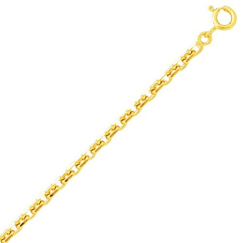 So Chic Bijoux © Chaîne Collier Longueur 50 cm Maille Forçat Diamantée 2,3 mm Or Jaune 750/000 (18 carats)
