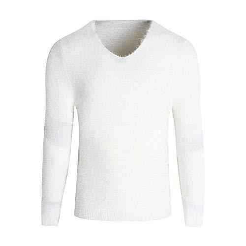 Blanco Suéter Punto Hombres Manga Larga Vintage Los Cuello V En De Largo Tops Con Elegante Y66TrnBq
